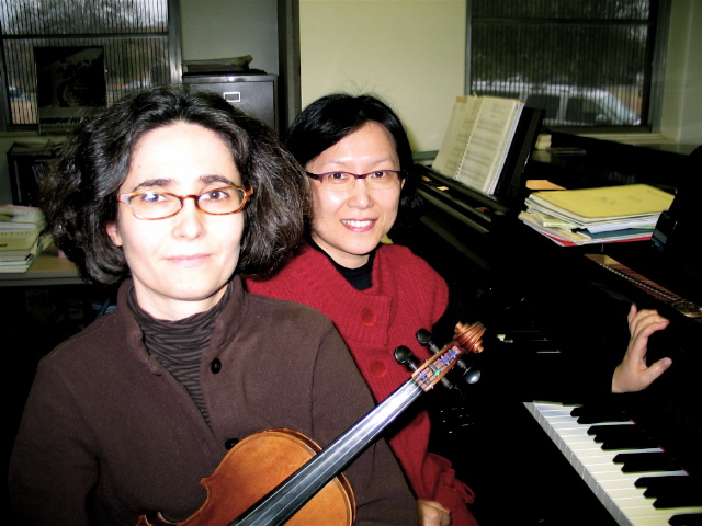 PHOTO: (L to R)  Violinist Anne-Gaëlle Ravetto and pianist Dr. Jung-Won Shi.