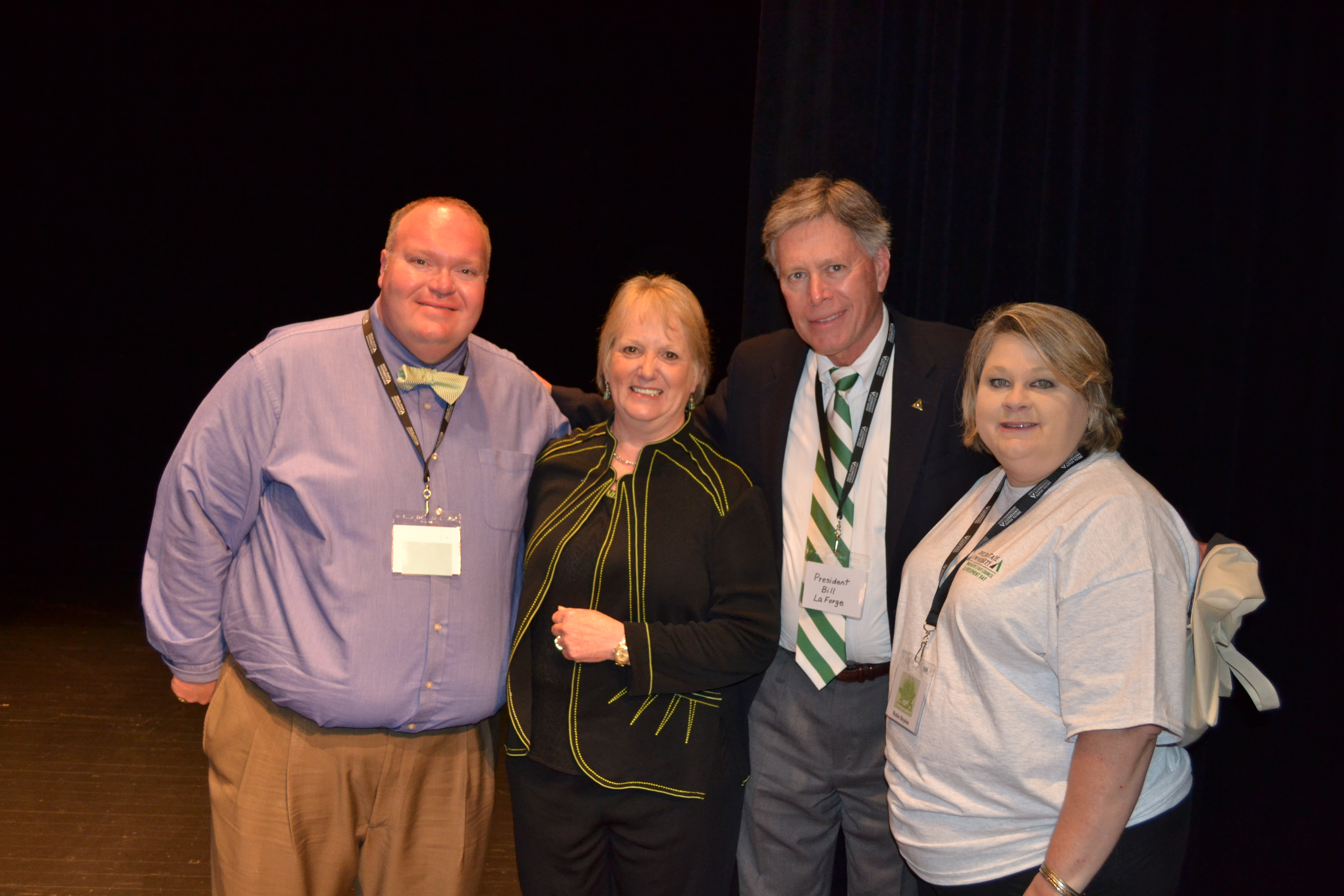 Photo: President of Delta State Staff Council Matt Jones, guest speaker Amy D. Whitten, J.D., President William N. Laforge and Chair Elect for Staff Council, Robin Boyles, gather for a photo at Staff Development Day.