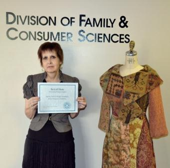Photo: Dr. Jan Haynes won Best of Show in the Juried Apparel Design Competition at the 104th Annual Conference and Expo of the American Association of Family and Consumer Sciences.