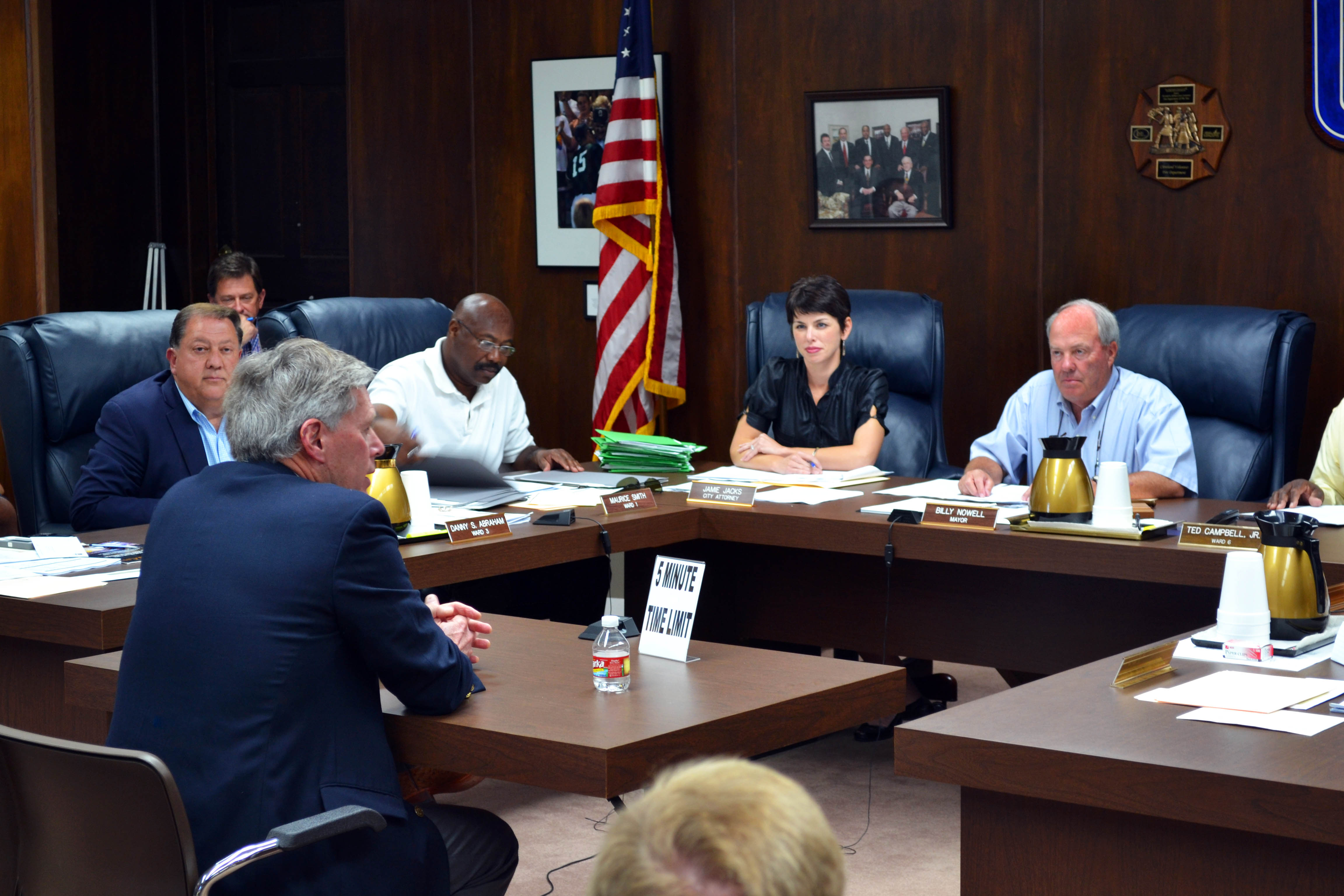 Photo: LaForge meets with mayor Billy Nowell, city attorney Jamie Jacks, and ward representatives to build the campus and community relationship.