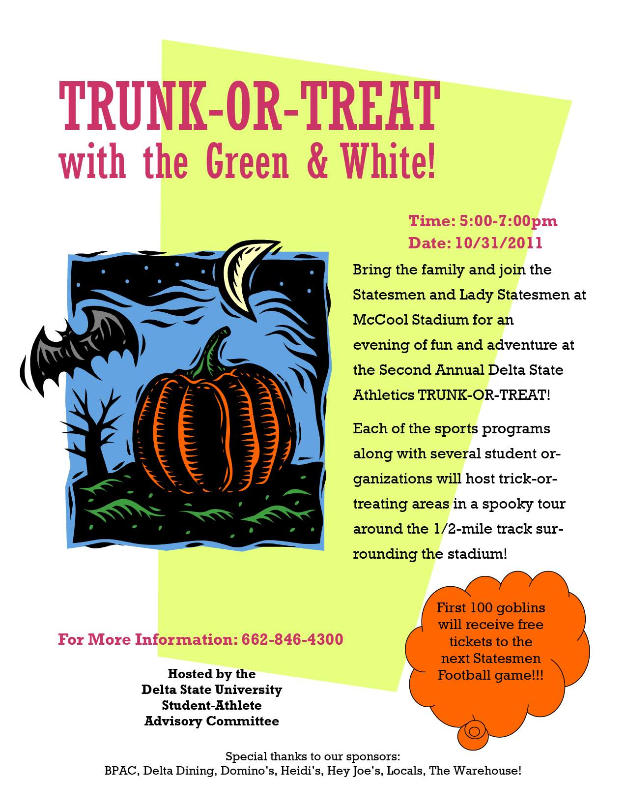 Trunk Or Treat Flyer http://www.deltastate.edu/pages/3469.asp?item=8451