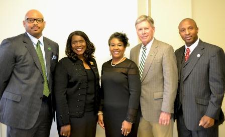 Dr. Alfred Rankin, Dr. Glenda Glover, Dr. Vanessa Rogers Long, Mr. William LaForge, and Dr. Valmage Towner