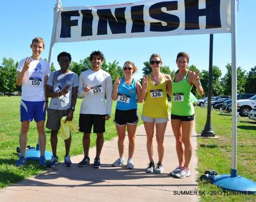 Top 3 Male Finishers and Top 3 Female Finishers (l to r) Nels Akerson, Charles Layne, Omar Sharabati, Rachel Anderson, Jacqui Slorach, and Ashley Haug.