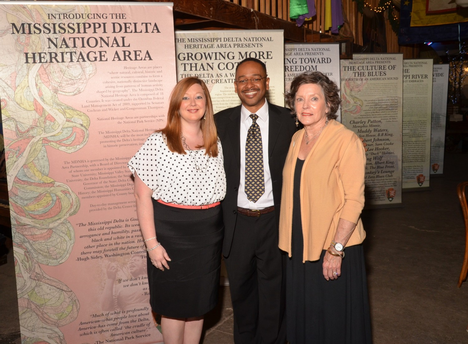 (Left to Right) Heather Miller, Program Associate for Projects, Dr. Rolando Herts, Director of The Delta Center for Culture and Learning, Lee Aylward, Program Associate for Education and Community Outreach