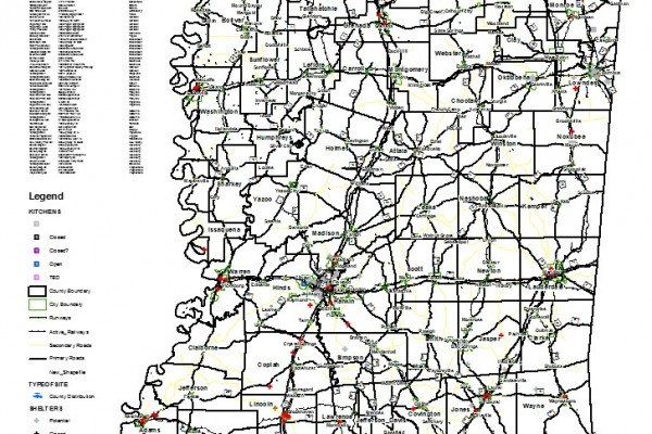 This map was used at the State Emergency Operations Center during Katrina and depicts the location of shelters and points of distribution for food and water.