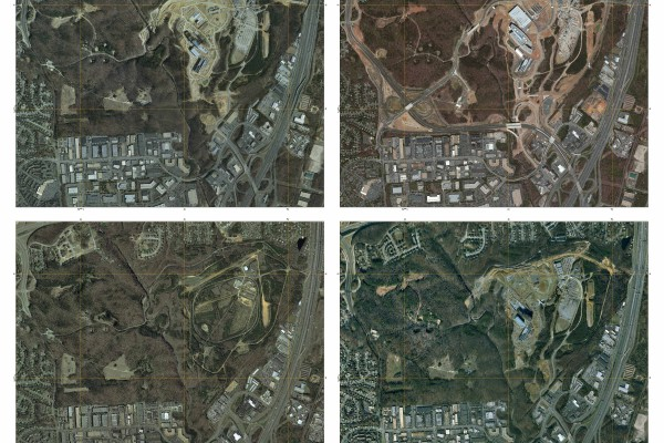 This series of images shows the construction of the National Geospatial Intelligence Agency's New Campus East Facility in Springfield, VA. Note the aircraft caught in the image at lower right.