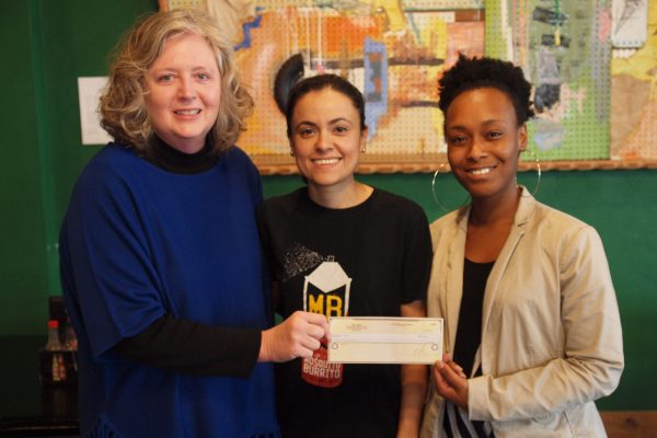 A total of $300 was raised by the Cleveland, MS restaurant to support breast cancer awareness. Pictured: Pictured (l to r)  Gail Bailey, Marisol Doyle of Hey Joe's, and  Aubreisha Hackler.