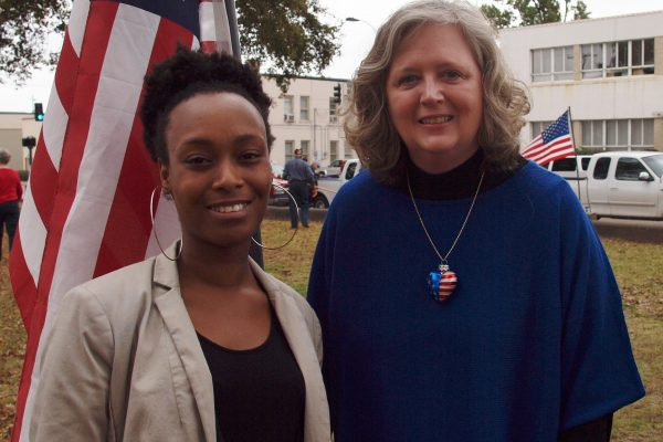 Held on the lawn of the Bolivar County Court House in Cleveland. City and County elected officials along with members of the Veterans of Foreign Wars (VFW) and the American Legion held a ceremony in memory and honor of those individuals from Bolivar County that have served in the armed forces. Pictured:  AmeriCorps*VISTA member Aubreisha Hackler and Project coordinator Gail Bailey.