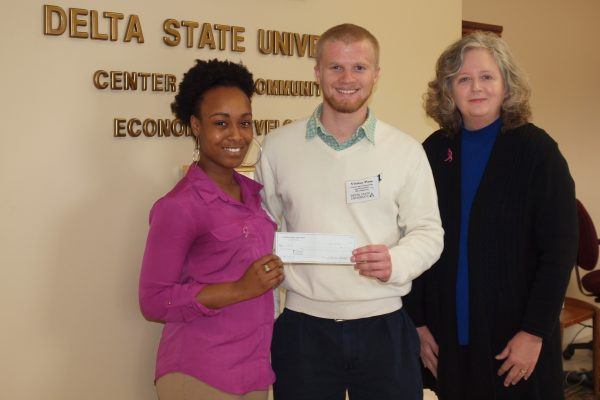 The Zeta Beta Chapter of Phi Kappa Alpha Fraternity at Delta State University coordinated a fund raising event along with five other Greek organizations (Sigma Alpha Epsilon, Kappa Sigma, Phi Mu Alpha, Kappa Alpha, and Alpha Phi Alpha) to support BEEP. A total of $542 was raised. Pictured (l to r):  Aubreisha Hackler, Jean Blackmon of  Zeta Beta Chapter of Phi Kappa Alpha, and Gail Bailey.