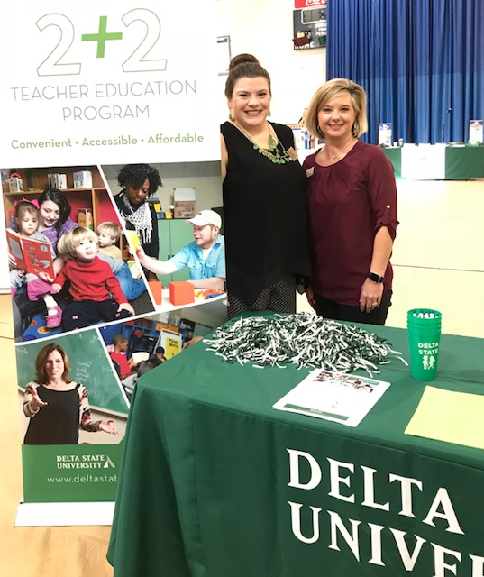 Dori Bulllock with Holmes rep Allison DeWeese. Partnership with Holmes Community College at the Hinds County College Fair held at Milsaps College in Jackson.