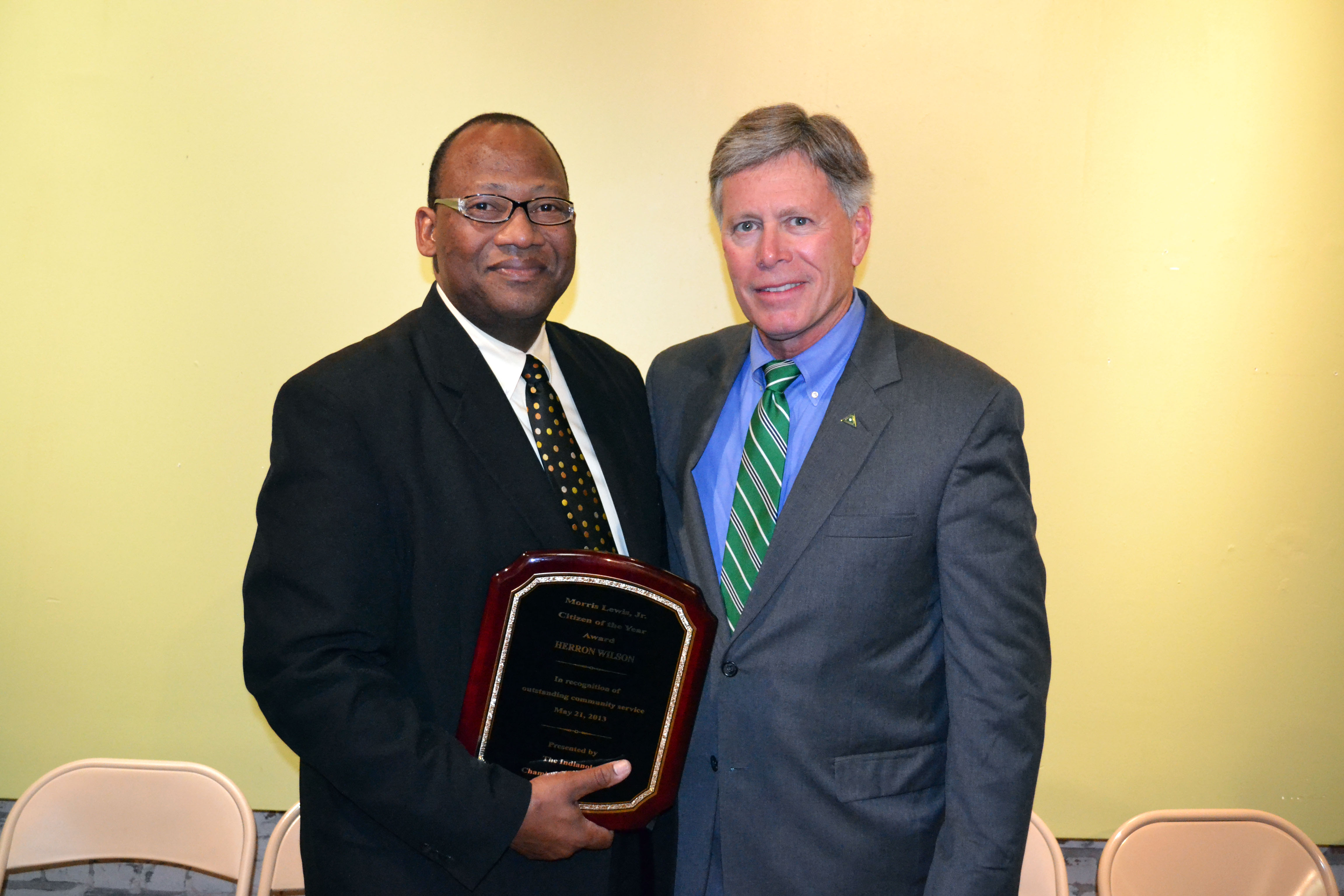 PHOTO:  Pictured are Rev. Herron Wilson, recipient of the Morris Lewis Jr. Citizen of the Year Award, and Delta State University President, William N. LaForge.