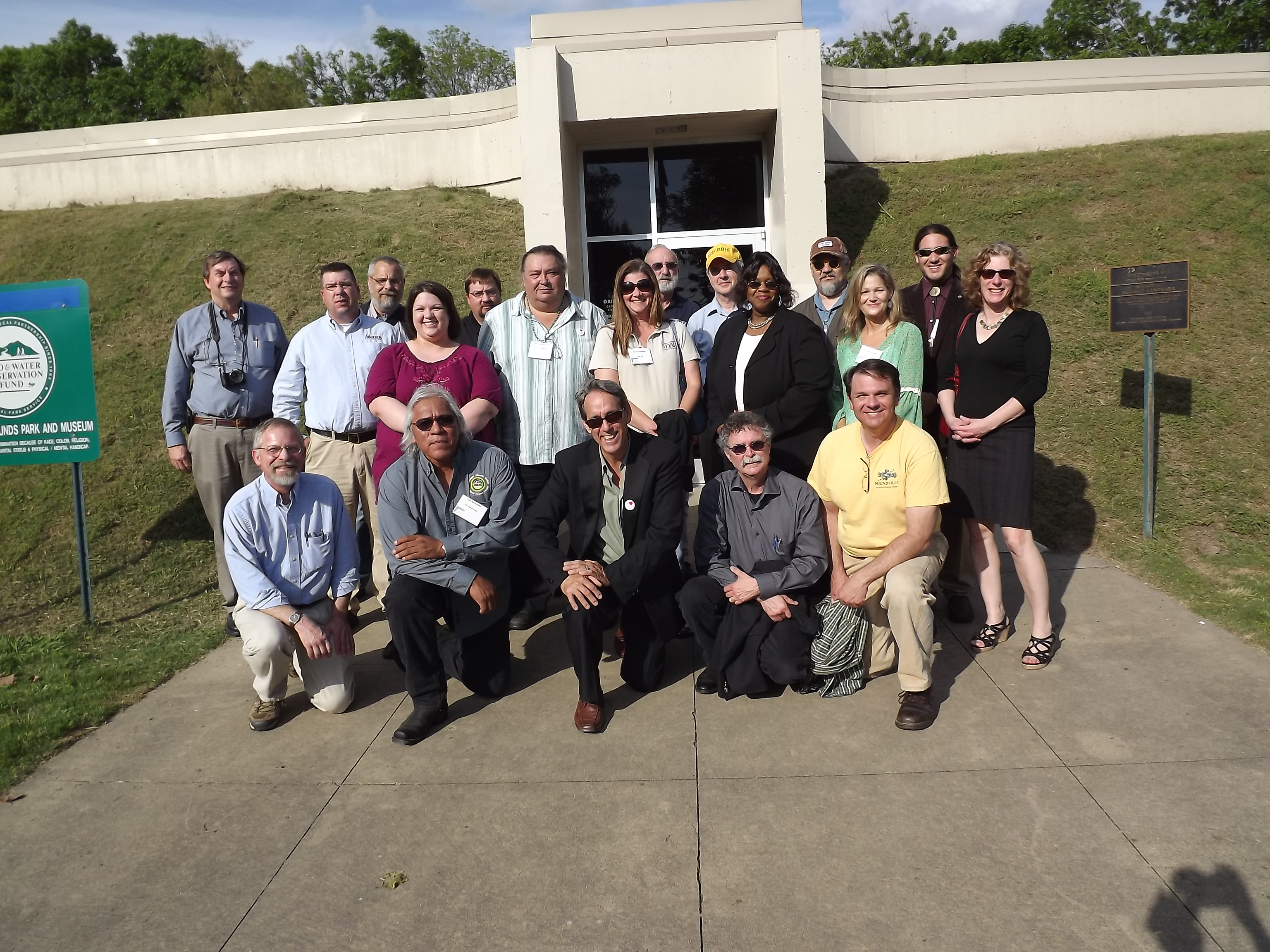 PHOTO:  Participants in the recent conference on the Museum of the Mississippi Indians in front of the existing interpretive center at Winterville.  Photo by Emman Spain, Tribal Historian, Muscogee (Creek) Nation
