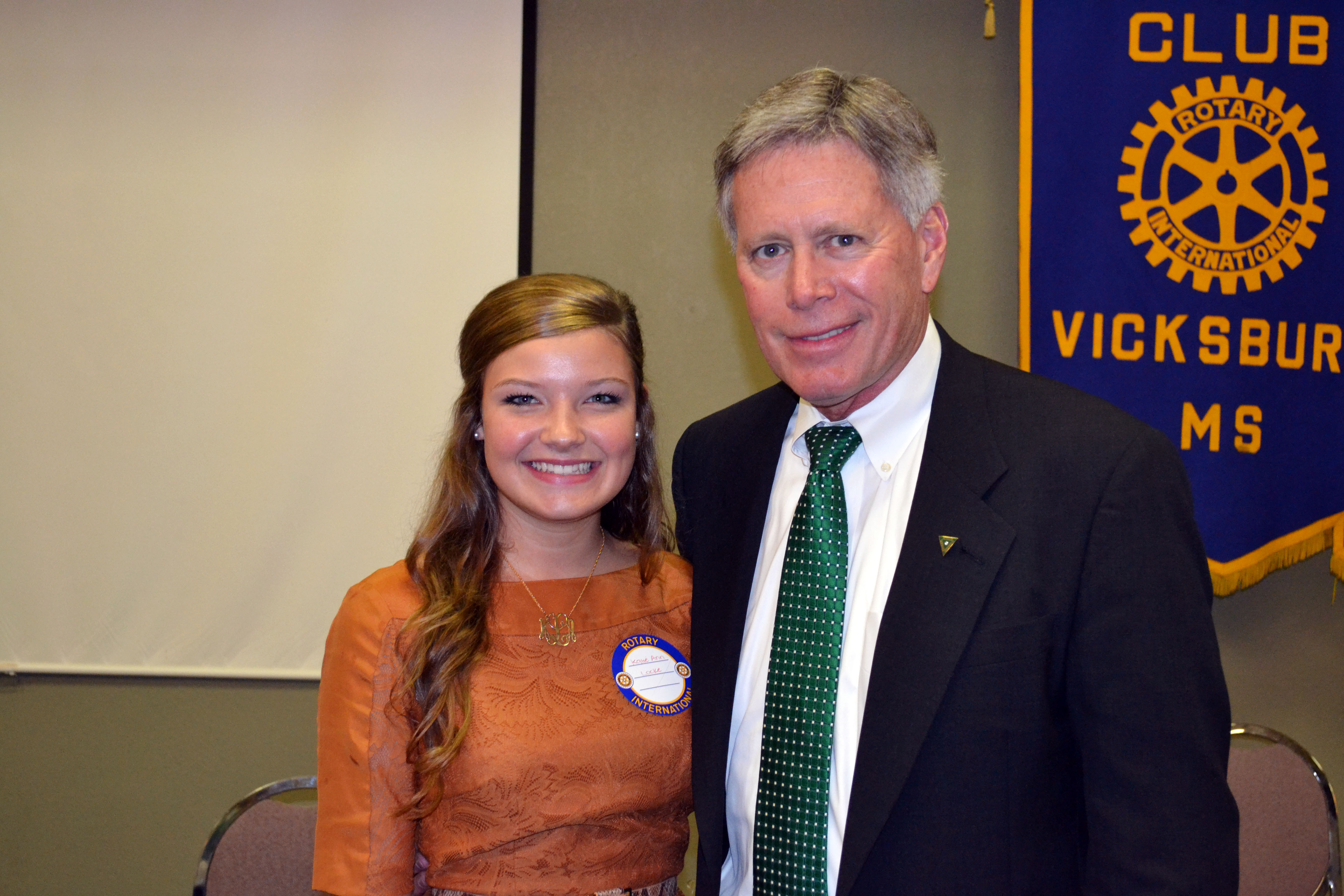 PHOTO: President LaForge meets incoming freshman Katie Ann Locke at Vicksburg Rotary Club.