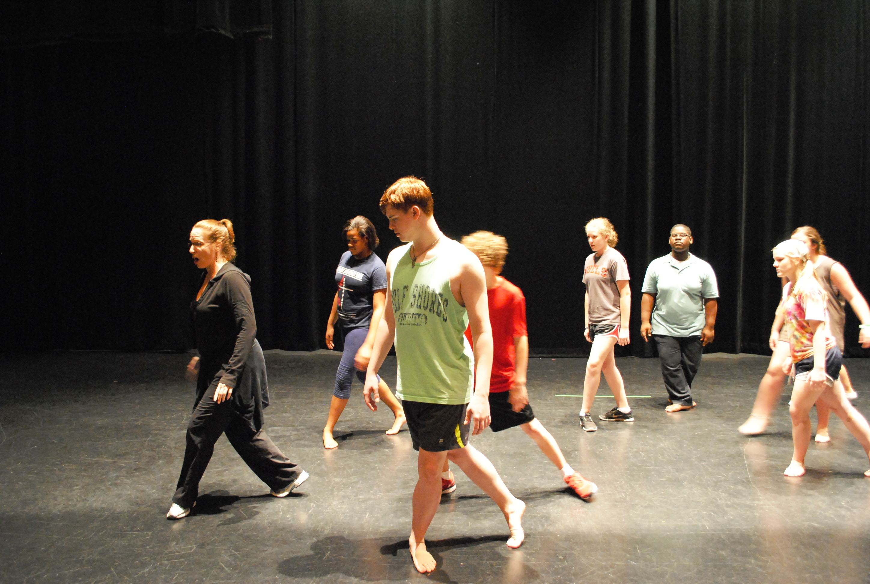 Photo: Teaching Artist Laura Morton of Belhaven University instructs the Arts Campers in Lyrical and Jazz Dance Fusion.