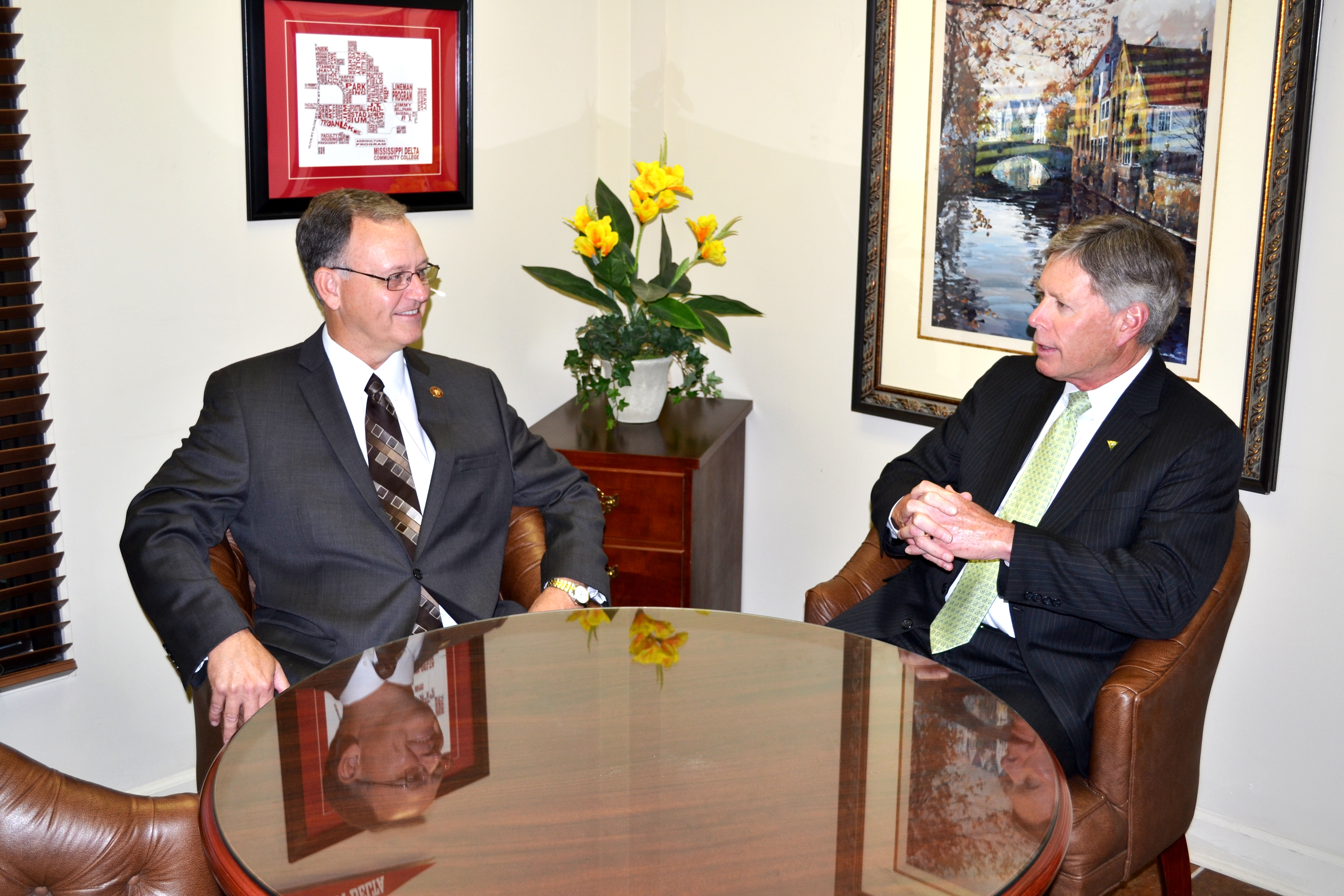 PHOTO:  President William N. LaForge with Mississippi Delta Community College President, Larry Nabors discussing future partnerships.