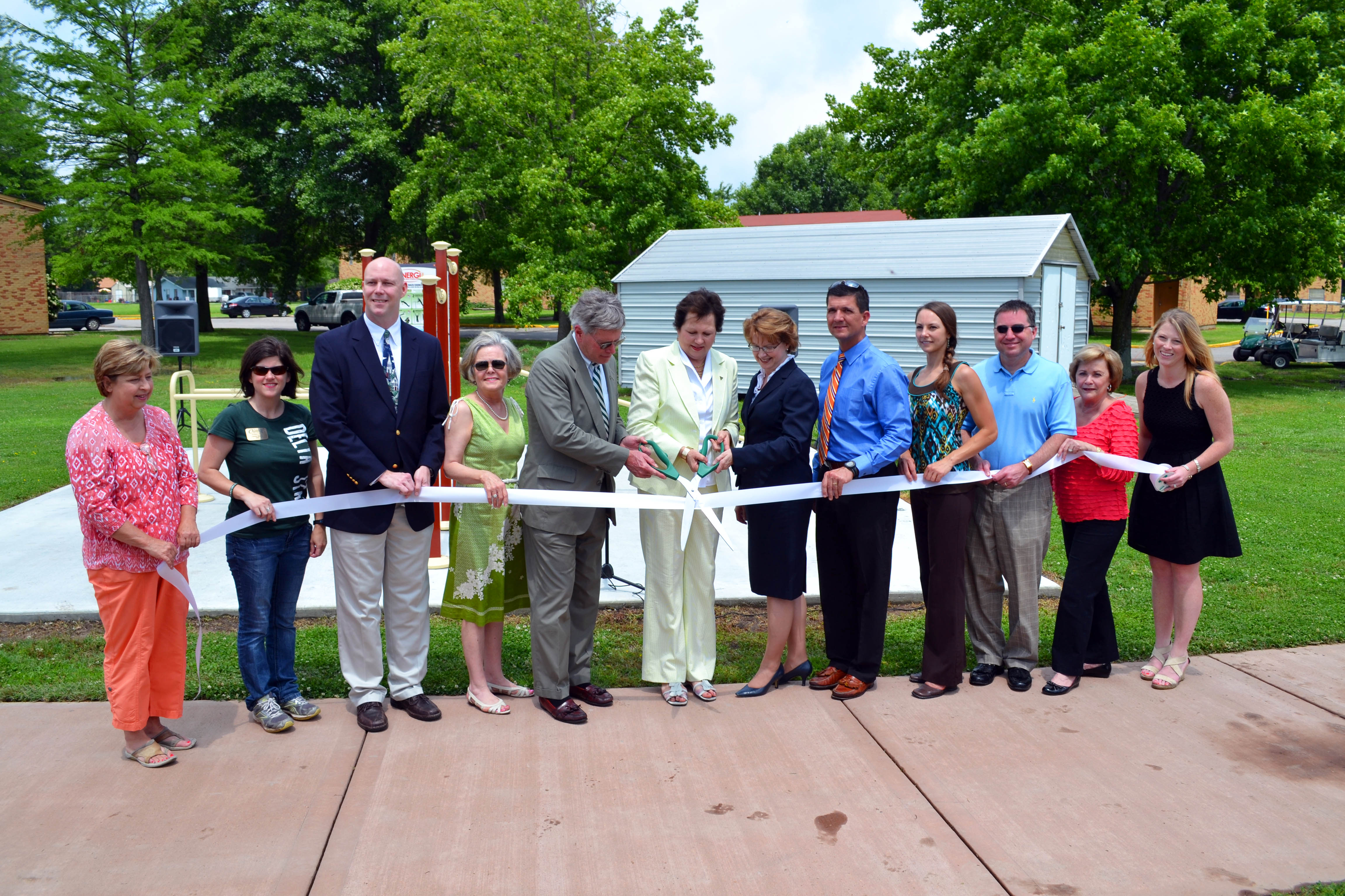 PHOTO:  Delta State University installs new exercise stations to its outdoor recreation facility. Pictured left to right are: Diane Makamson, Christy Riddle, Tim Colbert, Ann Lotven, William LaForge, Leslie Griffin, Sheila Grogan, Doug Pinkerton, Krista Davis, Rob Turner, Cynthia Petersen, and Suzette Matthews.