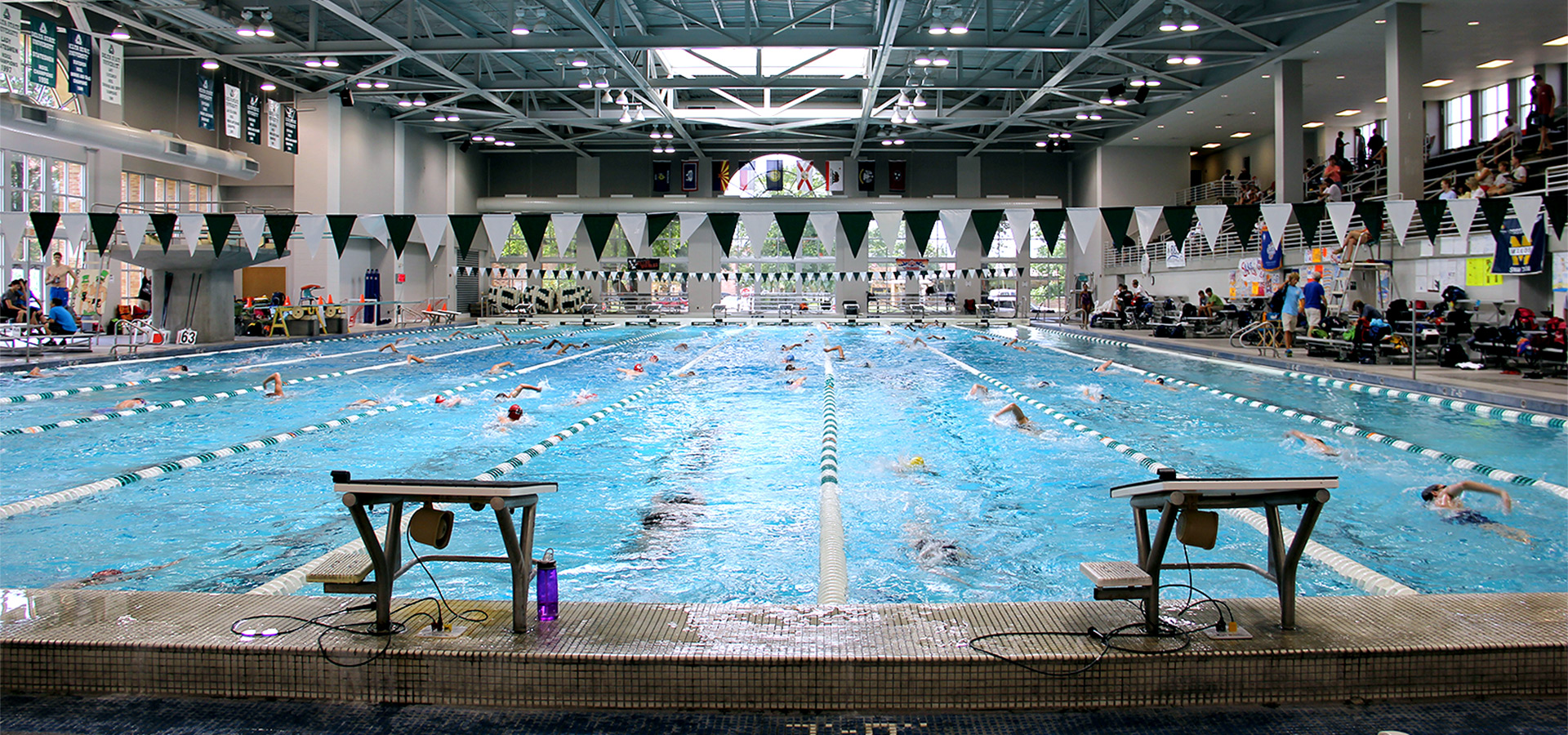 Caption: The Delta State Aquatics Center includes a 60-meter by 25-yard pool and has enough seating to accommodate over 2,500 people.