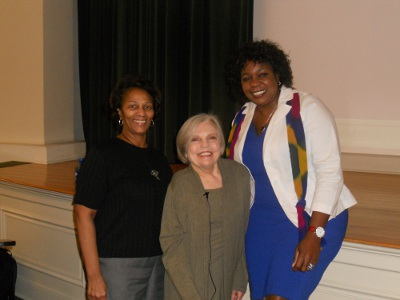 Photograph of Georgene Clark (Chair of the Diversity Advisory Committee), Dorothy Shawhan (Brown Bag presenter and Chair Emerita of the Div. Of Lang. and Lit.), and Paulette Meikle (Chair of the Gender Studies Group)