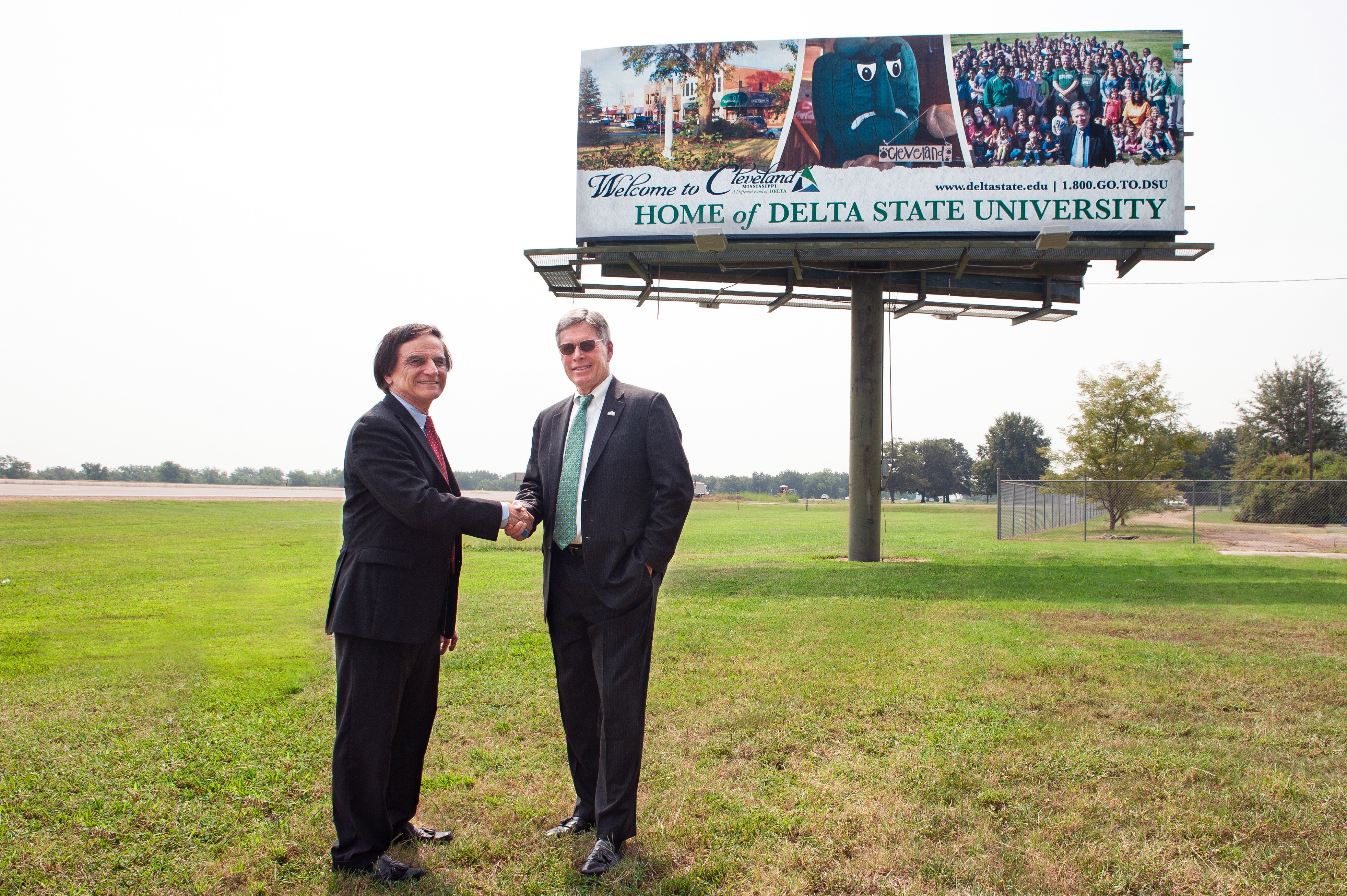 Dr. James Robinson (left) personally funded this new Delta State billboard on U.S. Highway 61 just north of Cleveland to show his support for President William N. LaForge and the university.