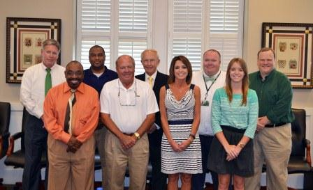 Pictured with President LaForge are inauguration committee members: (Front Row) Dr. Billy Moore (Academics), Cleveland Mayor Billy Nowell (Community), Dr. Michelle Roberts (President's Office), and Sydney Hodnett (Student); (Second Row) President LaForge, Will Hooker (Community), Chairman Kent Wyatt, Matt Jones (Staff) and Don Allen Mitchell (Faculty). Not pictured are: Anne Weissinger (Foundation) and Richard Myers (Alumni).