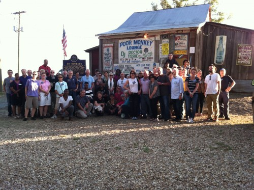 ":  Participants in the recent Mississippi Center for Justice ""2013 Great Mississippi Road Trip"" outside Po' Monkey's Lounge in Merigold, Mississippi"