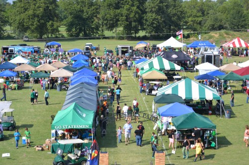 aerial view of Statesmen Park during Pig Pickin' weekend
