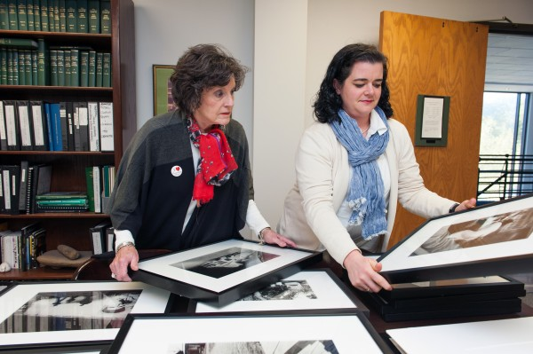 Lee Aylward, Delta Center for Culture & Learning, and Emily Jones, University Archivist, enjoy the newest addition to the collections housed at Delta State University's Archives & Museum.