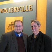 Assistant Professor Dr. Ethan Schmidt with Winterville Mounds Director Dr. Mark Howell at the park and museum's first speaking event of the year.