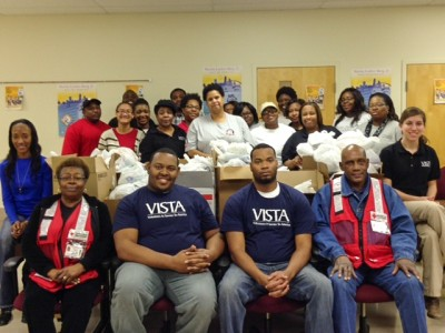 Volunteers assisting the AmeriCorps*VISTA program at Delta State University's Center for Community and Economic Development helped prepare over 200 personal hygiene bags for the homeless.