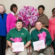 Cecil Barnett (front, left), Delta State grounds supervisor and Johnny Glorioso, Delta State golf pro, were thanked by B.E.E.P and Americorps*VISTA members for organizing a golf tournament in the organization's name. Back row: Gail Bailey, B.E.E.P. coordinator, and Americorps*VISTA members Jimisha Washington, Kizmet Cleveland and Taneisha Jackson. Not pictured is Shawana Ford, B.E.E.P. assistant project coordinator.