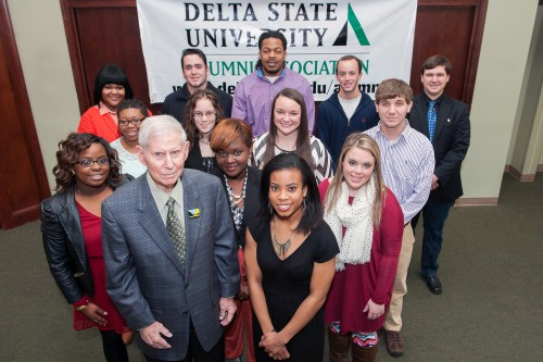 2013 Recipients of the Hugh Ellis Walker Alumni Scholarship recently gathered with Walker for a luncheon.