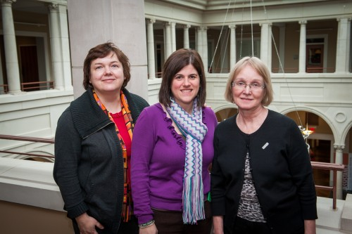 Russian professors from Perm State University, Svetlana Polyakova, left, and Elena Gritsenko, right, join Christy Riddle, executive director of International Student Services and the Student Success Center, this week as they build on exchange program opportunities with Delta State.