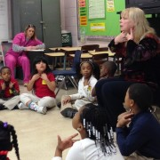 Karen L. Erickson, National Kennedy Center Teaching Artist, leads a first grade class at West Bolivar Elementary School in a lesson pertaining to literacy and the dramatic arts.