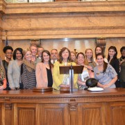 Those In attendance during the Delta State Nutrition and Dietetics Program visit to the State Capitol included (l to r): Rep. Linda Coleman (D-Mound Bayou), Taylor Addison, Natashia Bates, Rochelle Williams, Sarah Fincher, Trent Pyles, Rep. Ferr Smith (D-Carthage), Katie Busching, Rep. Tommy Taylor (R-Boyle),  Ensley Howell, Kathryn Morgan, Megan Howard, Marissa Juenger, Lauren Lott,  Maddy Davis, Karen Lichtenstein, Rep. Sarah Thomas ( D-Indianola)  and Speaker of the House Philip Gunn.
