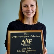 Graphic designer and brand manager Laura Walker was recently awarded Designer of the Year from the American Advertising Federation (AAF) at the Mississippi Delta/American Advertising Awards (AAA) District Seven awards ceremony in Greenville.