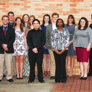 The most recent members of Delta State's chapter of Phi Kappa Phi Honor Society include: (front l to r) Jeremy Hughes, Jammie Marquez, Briana Deshone Williams; middle: Haley Katherine Turner, Ashley Nicole Clinkscales, Carolyn Elizabeth Howe, Jacob Davis McGinnley Mercier, Sarah Rene Loper; back: Benjamin Joseph Lambert, Camry Danielle Campbell, Kathryn Elizabeth Penton, Susan Harrison Downs and Columba Ekwonna Ferdinand.  Missing from the picture: Robert Barnes, Chance Delton Beicker, Justin Clark Boatman, Gregory Braggs, Sarah Glenn Burkhalter, Erin Kaylee Childs, Sarah Larraine Clark, Brook Michelle Cline, Megan Noelle Heathcock, Sydney Jana Holleman, William Barrett Iles, Rebekah Napier Jameson, Kayla Ann Kazanowski, Melissa Leigh Manor, Jesse Holden Mansfield and Bonnie Elizabeth Moore.