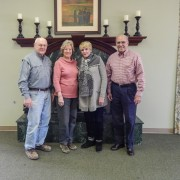 Former students of the Hill Demonstration School met with Director of Alumni Affairs, Jeffrey Farris, to plan a reunion for the fall of 2014. Pictured (l to r): Joe Smith, Marion Fleming Jordan, Mary Jane Wiggins Hemphill and John Lewis at the Hugh Ellis Walker Alumni & Foundation House, Simmons Room.