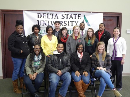 Students in the senior sociology course recently visited the Hugh Ellis Walker Alumni & Foundation House. Front row (l to r): Sierra Nelson (Hernando; social justice and criminology); Dimitrius Sneed (Ripley, Tenn.; social justice and criminology); Jasmine Shegog (Cleveland; social justice and criminology); Katie Portner (Cleveland; political science). Middle row: Dayshia Johnson (Rosedale; social justice and criminology); Sharon McQuay (Greenville; social justice and criminology); Alesha Jordan (Leland; social justice and criminology); Holly Harkins (Cleveland; political science); Tressa Lamb (Senatobia; social justice and criminology); Paige Nichols (Cleveland; social justice and criminology); Dr. Leslie Green-Pimentel (Cleveland). Back row: Thomas Wetzel (Yazoo City; political science, journalism); Justin Washington (Cleveland; social science with a concentration in sociology) and Richard Freelon (Bruce; social justice and criminology).