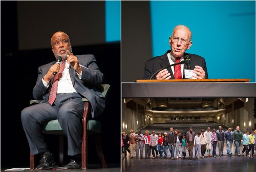Congressman Bennie Thompson (left) and Gov. William Winter were among the distinguished speakers at the inaugural Winning the Race conference at Delta State on March 18-19. A number of panels and activities were held across campus in hopes of increasing dialogue about race relations and diversity.
