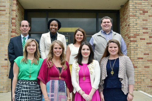 Omicron Delta Kappa Honor Society initiated eight new members Monday. Inductees included: (front, l to r) Katelyn Cheatham, Marley Schiele, Katherine Holbrook, Carlee Duhs, (back) Jeffrey Farris, FaDerricka Harvey, Virginia Adams and Stephen Racine.