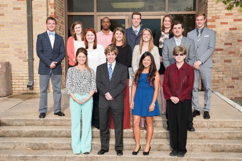 Members of the College of Business Student Advisory Council were recently recognized at the College of Business scholarship banquet. Students include (front l to r): president Taylor Adams,Yazoo City; Max Anderson, Cleveland; vice president Hidemi Mayershiro, Cleveland; staff sponsor Cathy Conico, Merigold. Middle row: Haley Turner, Cleveland; Sydney Bright, Greenwood; Sydney Hodnett, Cleveland; Brady Osborne, Flora. Back row: treasurer Tyler Densford, Cleveland; Jamie Luke, Greenville; Dexter Russell, Cleveland; Yvan Nys, Cleveland; secretary Danielle Meerholz, Cleveland; and Tobias Tombers, Cleveland. Not pictured is Angela Palazzolo.