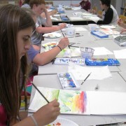 2013 Arts Campers participate in a watercolor painting course.