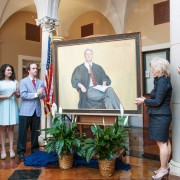 The late Article III U.S. District Judge W. Allen Pepper Jr. was honored with a portrait unveiling today in Kent Wyatt Hall on the campus of Delta State.