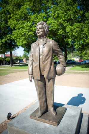 Legendary Lady Statesmen basketball coach Margaret Wade was memorialized today with a statue in front of Walter Sillers Coliseum.