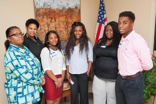 Sandy Adams (CCED), left; Linda N. Stringfellow (director); Cierra Triplett (CCC); Brittany Neal (GCVAC); Lisa Watkins (GCVAC); and Samuel Miller (CCC).