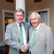 President William N. LaForge (left) recently announced the university has reached its $40 million fundraising goal for the Campaign for Delta State, a platform chaired by President Emeritus Kent Wyatt.