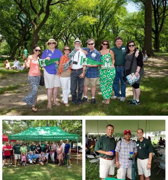 The Delta State University Alumni Association has had a strong presence at picnics this summer in New York City (top), Atlanta (bottom left) and Washington, D.C.