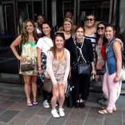 Those attending the fashion merchandising trip to Europe this summer included:  Front, kneeling, Alexandra Hamm, freshman from Germantown; Second row, Ashli Gorton, fashion merchandising alum from Madison; Ashton Roach, senior fashion merchandising student from Hernando; Morgan Ledlow, senior business student from  Bentonia; Jan Haynes, fashion merchandising professor; Barbara Ann Beckham, senior psychology student from Inverness;  Lauren Simmons,  senior speech and hearing science student from Indianola; and Elizabeth Burkhalter, fashion merchandising alum from Batesville. Back row, Sammuel Partee, senior fashion merchandising student from Clarksdale; and Maurice Funderburg, senior fashion merchandising student from Greenwood.