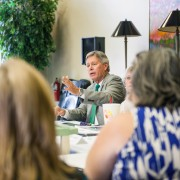 President William N. LaForge welcomed about 20 local mayors to a new program called the Mayors' Summit Wednesday at the Hugh Ellis Walker Alumni-Foundation House. Discussion focussed on development of community-university partnerships.