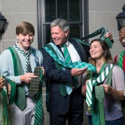 Delta State University President William N. LaForge says his green tie collection is a symbolic bond that ties all aspects of campus together.